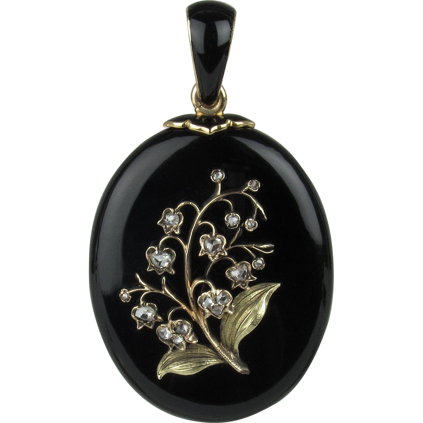 Lily of the valley black onyx and diamond mourning locket for Fashion valley jewelry stores