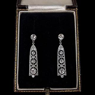 Art Deco Platinum and Diamond Drop Earrings - Conversion Earrings