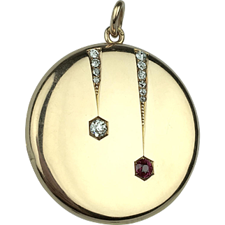 Edwardian 14K Diamond and Ruby Locket