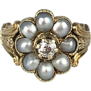 15K Diamond and Half Pearl Cluster Ring - Early Victorian Era