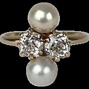 Edwardian Era 18K Old Mine Cut Diamond & Pearl Ring