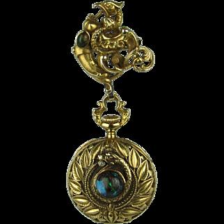 Ladies 18K Art Nouveau Lapel Watch - Swiss