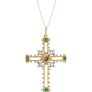 18K French Enamel Cross Pendant with a Champagne Diamond and Emeralds