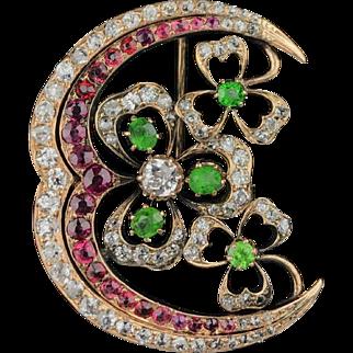 Sweetest 14K Gem-set Shamrock & Crescent Brooch Pendant with Demantoids, Rubies and Diamonds