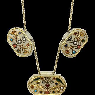 19th C Gem-Set Jade Pendant Necklace - Holdali Plaques