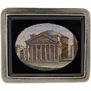 Victorian Grand Tour Micro Mosaic Brooch of the Pantheon in Rome