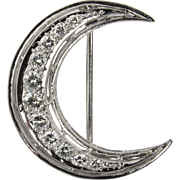Platinum and Diamond Crescent Moon Brooch