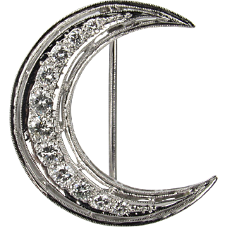Platinum and Diamond Crescent Moon Brooch
