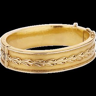 14K Victorian Hinged Bangle Bracelet with Laurel Wreath Design - 18 dwt