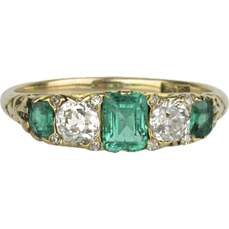 18K Emerald and Old Mine Cut Diamond Ring - Late 19th C