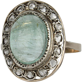 Victorian Cat's Eye Aquamarine and Rose-Cut Diamond Ring - Silver Topped 14K