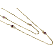 "Long 14K Ruby & Diamond Station Necklace 30"" - Diamonds By The Yard"