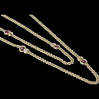 """Long 14K Ruby & Diamond Station Necklace 30"""" - Diamonds By The Yard"""