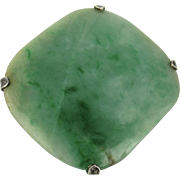 Beautiful Old Chinese Jade Jadeite Bead Mounted as a Pin Brooch