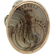 """Georgian Banded Agate Fob Seal """"Liberty, Justice, Hope"""""""