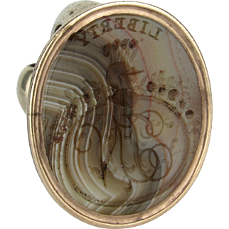 "Georgian Banded Agate Fob Seal ""Liberty, Justice, Hope"""