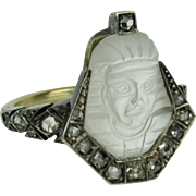 Egyptian Revival Moonstone Cameo and Rose Cut Diamond Pharaoh Ring