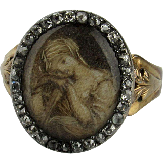 Georgian Sepia and Hair Work Ring of a Young Lady with Rose Cut Diamond Surround