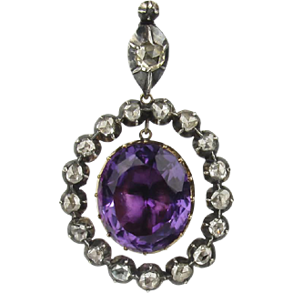 Georgian 14K Amethyst and Rose Cut Diamond Pendant