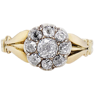 Victorian Diamond and Silver-Topped Gold Cluster Engagement Ring