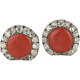 Salmon Coral and Old Cut Diamond Conversion Earrings