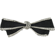 Platinum and Diamond Art Deco Ribbon Bow Brooch