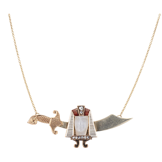 14K Egyptian Revival Moonstone Pharaoh Cameo & Scrimitar Conversion Necklace