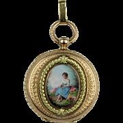 Antique 18K Gold & Swiss Enamel Ladies Pocket Watch - French Hallmarks