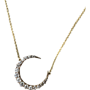 14K Diamond Crescent Moon Necklace - Brooch Conversion