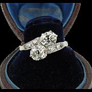 Romantic Toi et Moi Ring with Mine Cut Diamonds