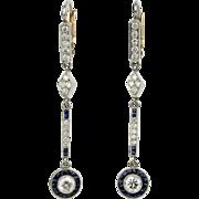Art Deco Platinum and Diamond Drop Earrings