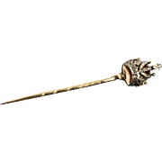 18K Austrian Diamond & Enamel Crown Stickpin by Ludwig Politzer - Royal Jeweler