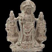 Chinese Carved Stone Buddha with Bodhisattvas