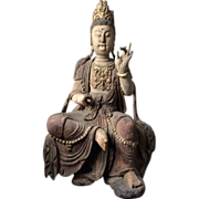 Early Chinese Carved Wooden Sculpture of Guanyin Kwan Yin