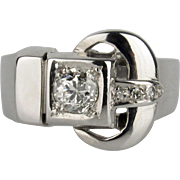 Large 14K White Gold and Diamond Belt Buckle Ring - .50 CT Diamond