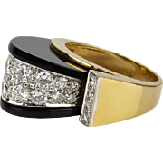 Signed Vintage Modernist 2CT Diamond & Onyx 18K Domed Cocktail Ring TISHMAN & LIPP