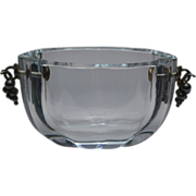 Vintage OGH Olaf Gunnar Hjertzell Glass Centerpiece Bowl with Sterling Silver Mounts