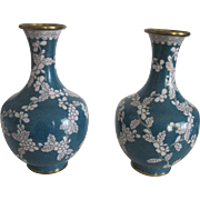 Matching Pr. Cloisonne Vases - Blue with Floral Vine Design