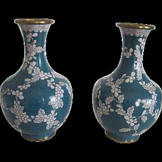 Matching Pr. Cloisonne Vases - Blue with Floral Vine Design