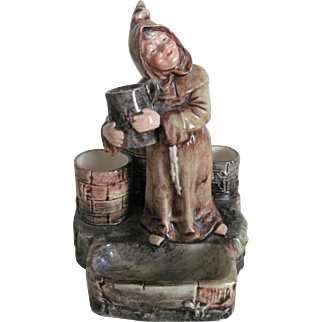 """Antique Majolica Tobacco/Match Strike Figure """"Monk by the Well"""""""