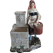 """Antique Majolica Tobacco/Match Strike Figure """"Woman by the Well"""""""