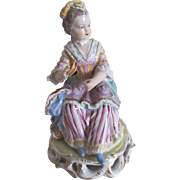 "Antique Dresden Porcelain Figurine ""The Lace Tatterer"" by Carl Thieme c.1900"