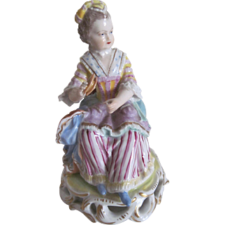 "Antique Dresden Porcelain Figurine ""The Lace Tatterer"" by Carl Thieme c.1900"