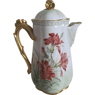 Antique Limoges Hand Painted Chocolate Pot - Gold Gilded