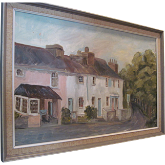 """Oil Painting - """"A Country Celtic Welsh Village"""""""