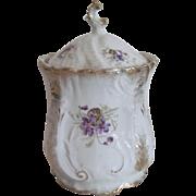 KPM Porcelain Biscuit Jar - Violets & Gold Gilt