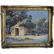 "French Impressionist Painting ""Provence, France""  19c. Oil on Board - Original Gold Frame - Artist Signed P. Font"