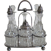 Antique British Silver Condiment/Cruet Set = 6 Cut Glass Bottles