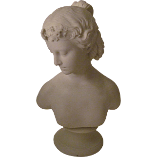 """Lovely Parian Ware Statue """"Young Woman"""" -Signed"""