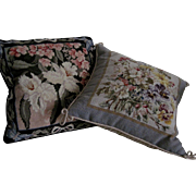 Pair of Lovely Vintage Needlepoint Pillows - Floral Motif